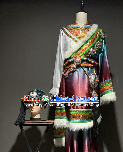 Chinese Zang Nationality Stage Performance Costumes Tibetan Ethnic Minority Male Robe Outfits and Headpiece