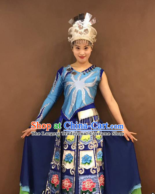 Chinese Yi Nationality Wedding Bride Costumes Ethnic Minority Young Lady Blue Outfits and Headwear