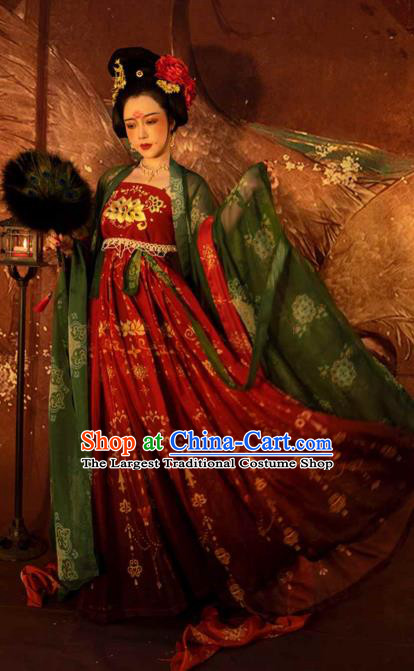 Traditional China Tang Dynasty Princess Gaoyang Replica Costumes Ancient Court Woman Hanfu Dress Clothing
