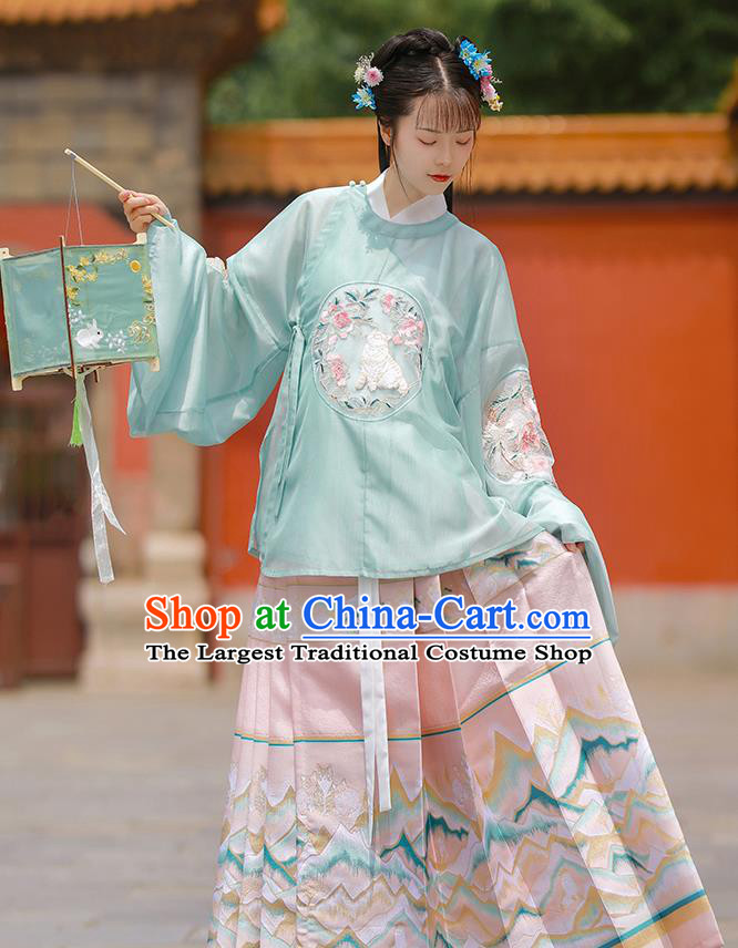 China Ancient Patrician Lady Hanfu Clothing Traditional Ming Dynasty Palace Beauty Embroidered Costumes Complete Set