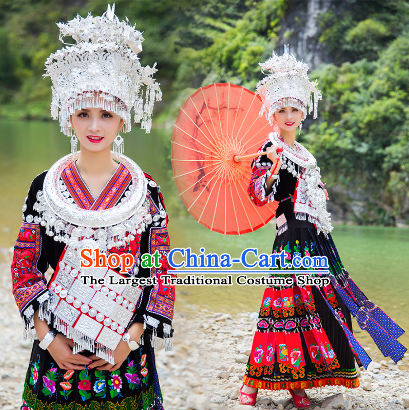 Top Chinese Traditional Miao Garment Ethnic Dresses Minority Clothing Complete Set