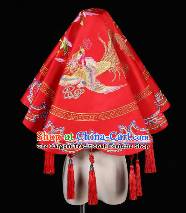 China Traditional Wedding Xiuhe Suit Headdress Embroidery Dragon Phoenix Red Bridal Veil Kerchief