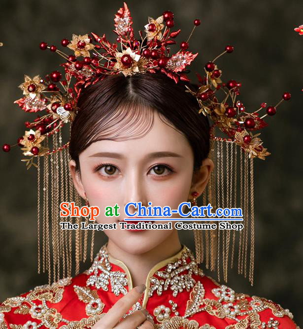 Chinese Bride Hairpins Traditional Wedding Hair Accessories Classical Xiuhe Suit Crystal Leaf Hair Crown