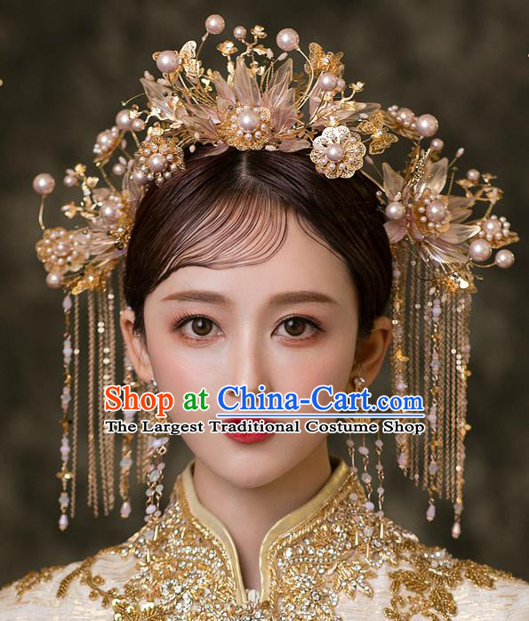 Chinese Classical Xiuhe Suit Hair Crown and Tassel Hairpins Traditional Wedding Bride Hair Accessories