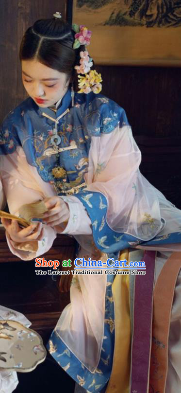 China Qing Dynasty Imperial Concubine Historical Costumes Ancient Court Woman Embroidered Clothing