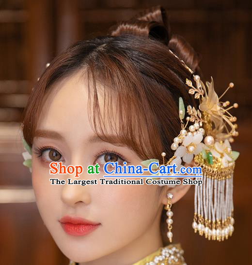 Chinese Classical Bride Tassel Hair Sticks Traditional Wedding Hair Accessories Xiuhe Suit Hairpins