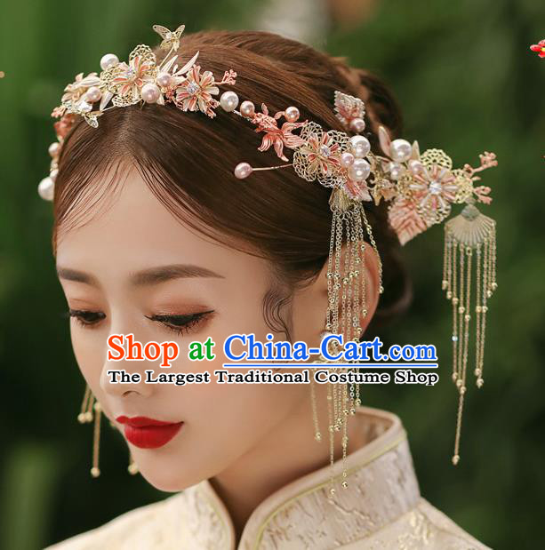 Chinese Classical Bride Tassel Hairpins Traditional Wedding Hair Accessories Xiuhe Suit Goldfish Hair Clasp