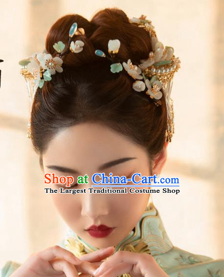 Chinese Classical Bride Pearls Tassel Hairpins Traditional Wedding Hair Accessories Xiuhe Suit Hair Sticks