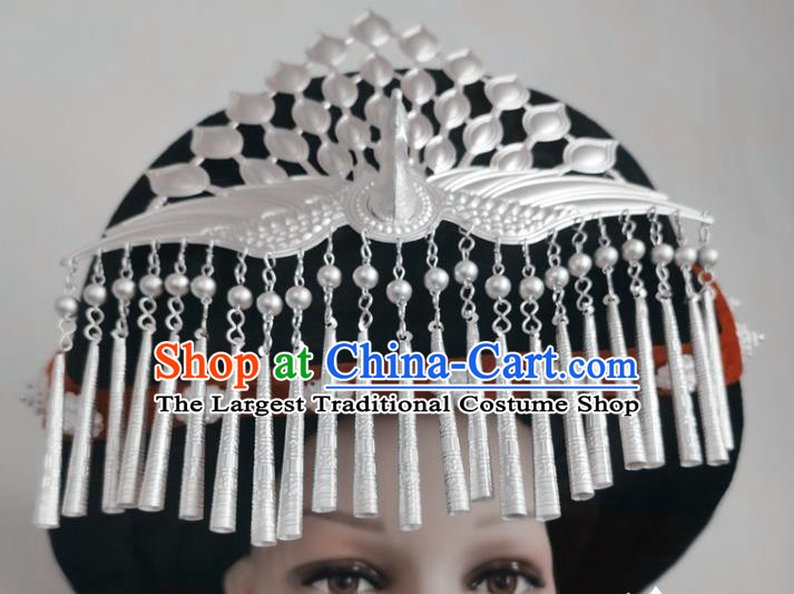 Chinese Liangshan Ethnic Silver Phoenix Headwear Traditional Yi Nationality Minority Stage Performance Hat
