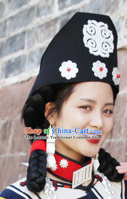 Chinese Liangshan Ethnic Woman Headwear Traditional Yi Nationality Minority Stage Performance Triangular Hat