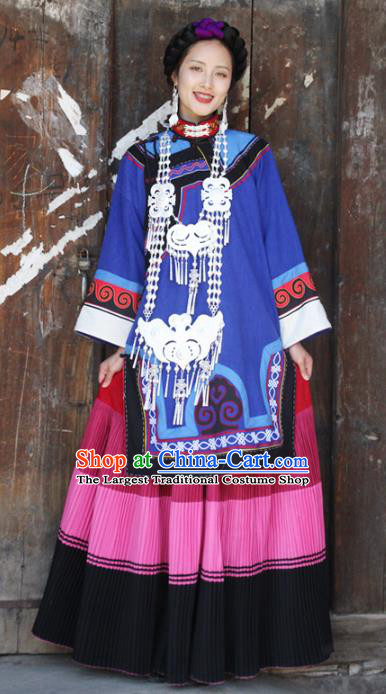 China Yi Nationality Folk Dance Outfits Clothing Traditional Liangshan Ethnic Wedding Bride Costumes and Headpiece