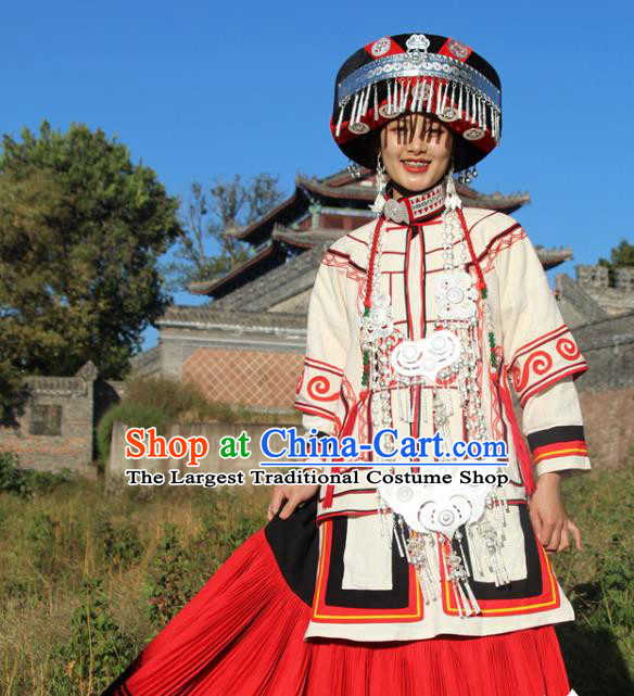China Yi Nationality Minority White Outfits Clothing Traditional Liangshan Ethnic Wedding Bride Costumes and Hat