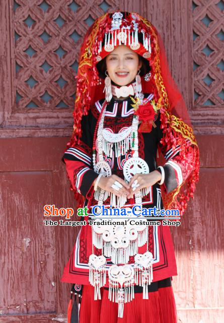 China Traditional Liangshan Ethnic Bride Costumes Yi Nationality Minority Wedding Outfits Clothing and Headwear