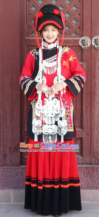 China Traditional Liangshan Ethnic Wedding Costumes Yi Nationality Minority Bride Red Outfits Clothing and Hat