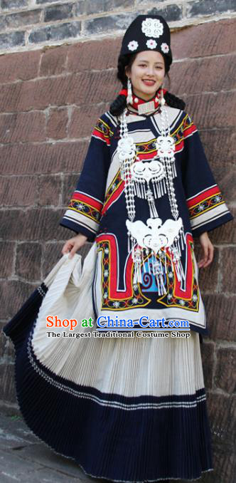 China Traditional Liangshan Ethnic Folk Dance Costumes Yi Nationality Minority Woman Outfits Clothing and Hat