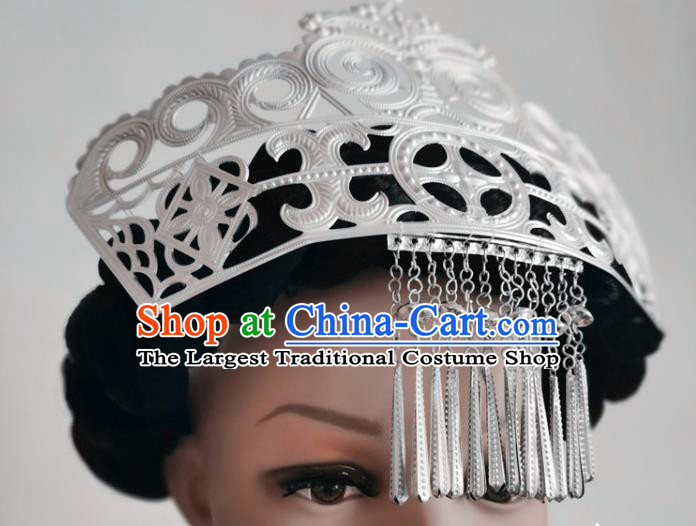 Chinese Liangshan Ethnic Silver Tassel Hair Crown Headwear Traditional Yi Nationality Ceremony Hat