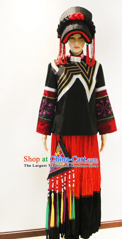 China Traditional Liangshan Ethnic Female Costumes Yi Nationality Minority Stage Performance Outfits Clothing and Hat