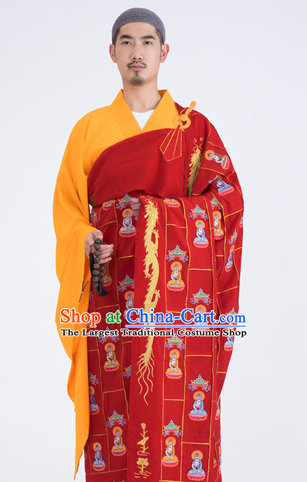 Chinese Traditional Kesa Kasaya Buddhist Monk Clothing Complete Set