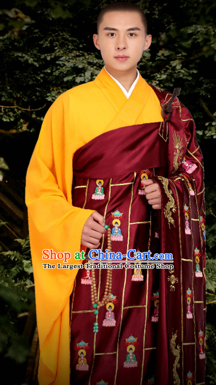 Chinese Classical Traditional Kesa Kasaya Buddhist Monk Clothing Qian Fo Yi Monk Garment Complete Set