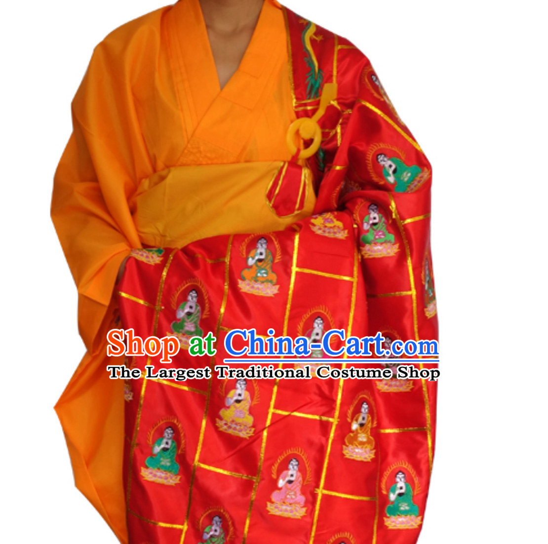 Chinese Ancient Kesa Kasaya Buddhist Monk Costumes Complete Set