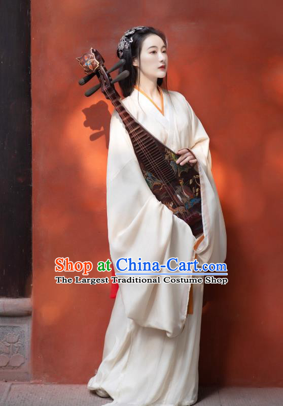 China Traditional Jin Dynasty Palace Lady Historical Clothing Ancient Court Princess White Hanfu Dress Garment