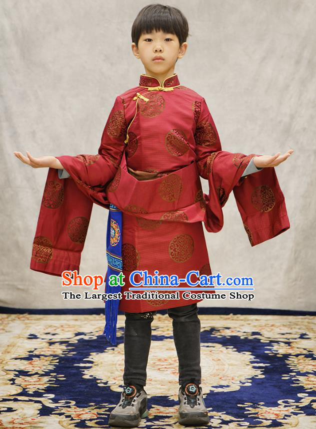 Chinese Zang Nationality Boys Costumes Tibetan Ethnic Children Red Brocade Uniforms