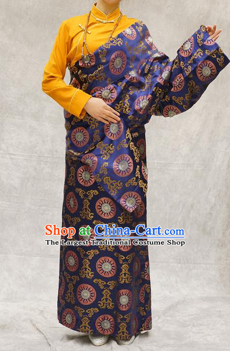 China Zang Nationality Clothing Ethnic Woman Stage Performance Costume Deep Blue Brocade Tibetan Robe