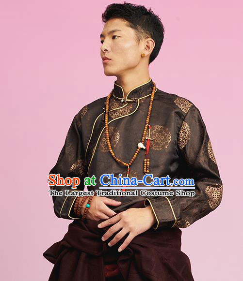 Chinese Tibetan Ethnic Male Deep Brown Brocade Shirt Zang Nationality Upper Outer Garment Clothing