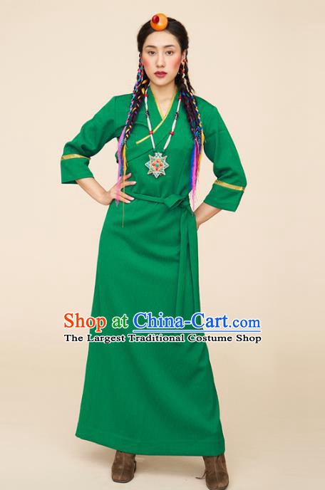 China Zang Nationality Folk Dance Green Bola Dress Tibetan Ethnic Woman Clothing