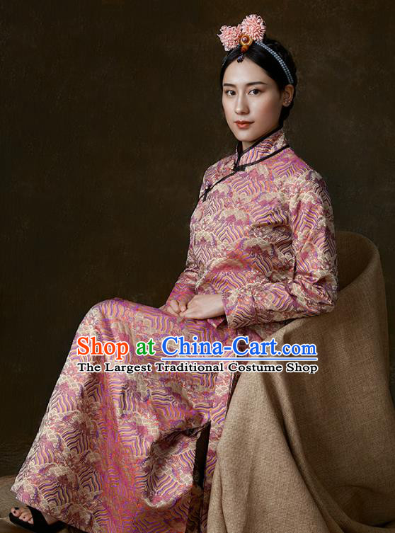 China Traditional Tibetan Ethnic Stage Performance Clothing Zang Nationality Pink Brocade Bola Dress