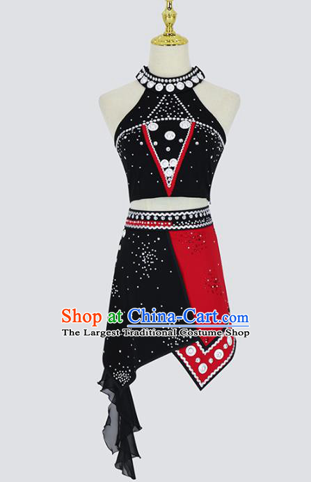 China Traditional Ethnic Dance Competition Clothing Wa Nationality Folk Dance Costumes