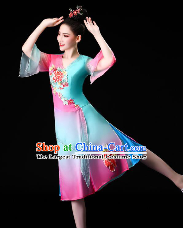 Chinese Traditional Folk Dance Clothing Asian Yangko Dance Performance Embroidered Blue Outfits
