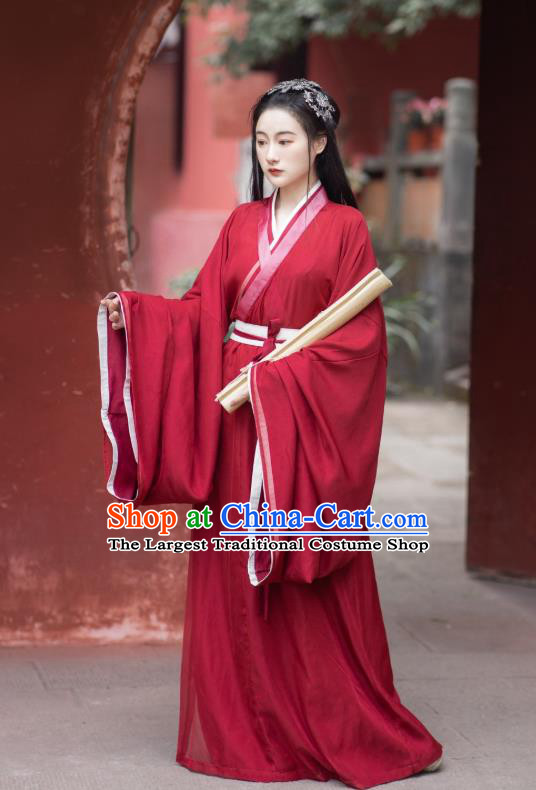 China Ancient Palace Lady Red Hanfu Dress Apparels Traditional Jin Dynasty Historical Clothing