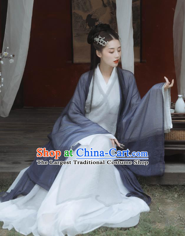 China Ancient Swordswoman Hanfu Dress Traditional Jin Dynasty Young Beauty Grey Clothing