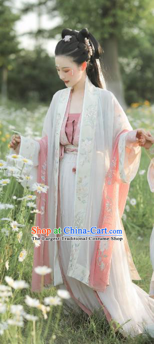 China Traditional Song Dynasty Court Beauty Clothing Ancient Palace Princess Hanfu Dress Historical Costumes