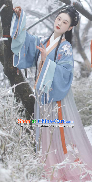 China Ancient Imperial Concubine Embroidered Hanfu Dress Traditional Jin Dynasty Court Beauty Hanfu Clothing