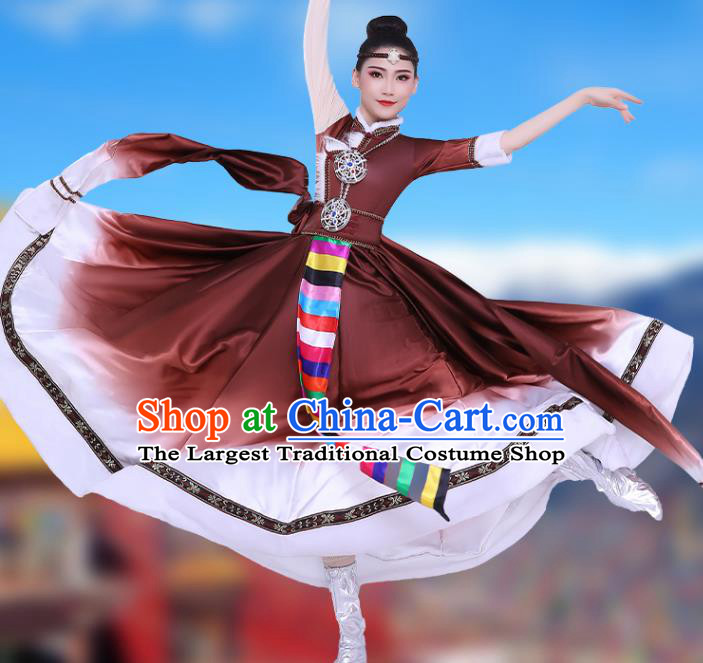 Chinese Traditional Zang Nationality Folk Dance Clothing Xizang Tibetan Ethnic Performance Brown Dress