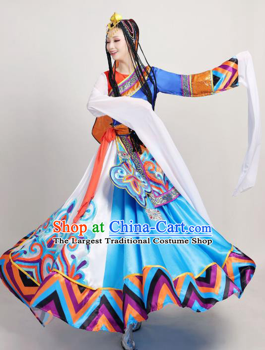Chinese Traditional Zang Nationality Stage Performance Clothing Xizang Tibetan Ethnic Dance Water Sleeve Dress