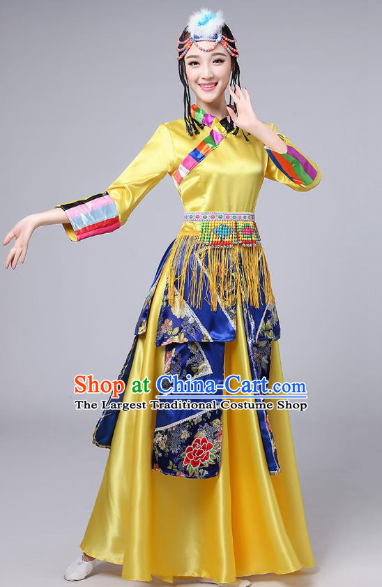 Chinese Zang Nationality Female Dance Clothing Traditional Xizang Tibetan Ethnic Stage Performance Yellow Dress