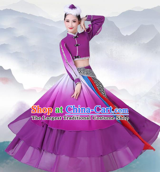 Chinese Traditional Mongolian Nationality Dance Clothing Mongol Ethnic Folk Dance Purple Dress Outfits