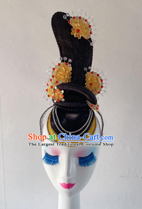 China Traditional Flying Apsaras Dance Hair Accessories Classical Dance Wig Chignon Headdress