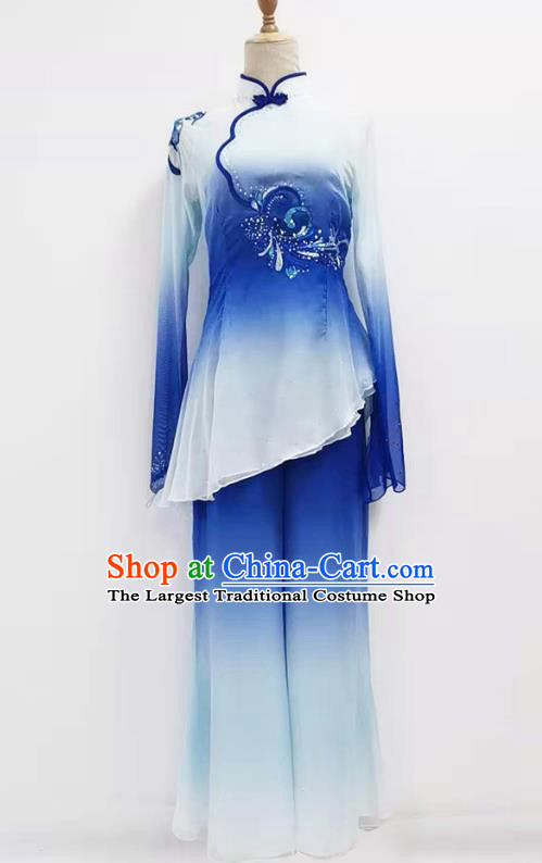 Chinese Yangko Dance Performance Blue Outfits Jiaozhou Fan Dance Folk Dance Clothing