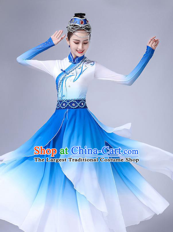 Chinese Mongolian Ethnic Stage Performance Clothing Traditional Mongol Nationality Bowl Dance Blue Dress