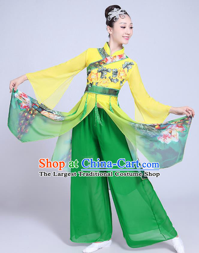 China Folk Dance Clothing Fan Dance Costume Spring Festival Gala Yangko Dance Printing Green Outfits