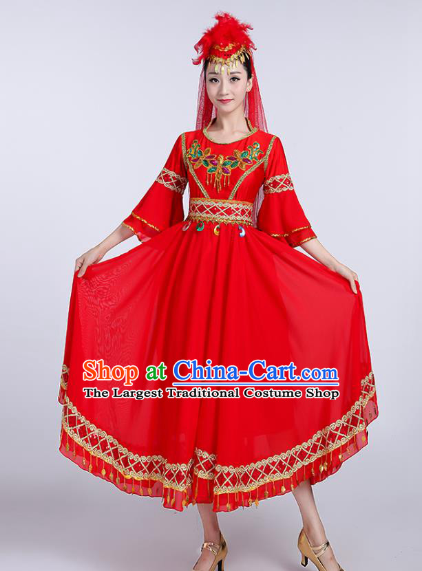 Chinese Uyghur Ethnic Folk Dance Red Dress Traditional Xinjiang Uyghur Nationality Dance Clothing