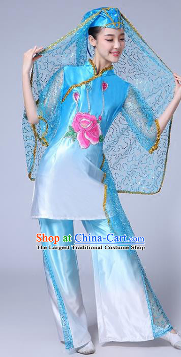 Chinese Ningxia Ethnic Folk Dance Blue Outfits Traditional Hui Nationality Bride Dance Clothing