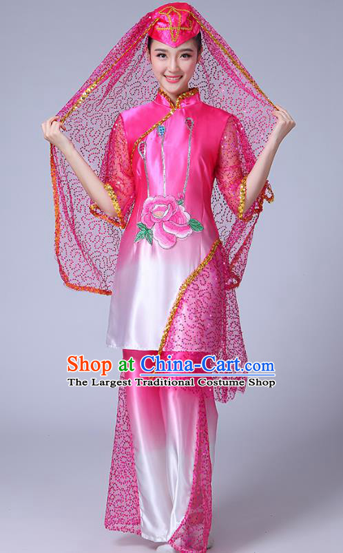 Chinese Traditional Hui Nationality Bride Dance Clothing Ningxia Ethnic Folk Dance Pink Outfits