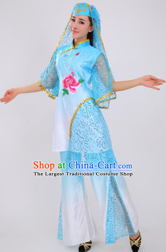 Chinese Ningxia Ethnic Folk Dance Blue Outfits Traditional Hui Nationality Female Stage Performance Clothing