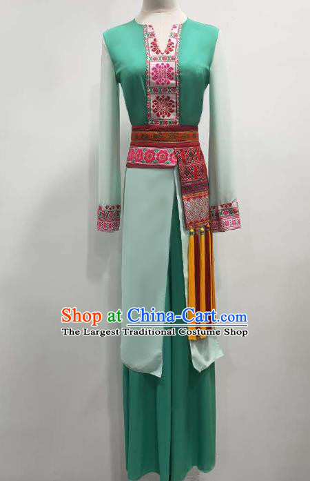 China Stage Performance Costume Classical Dance Green Outfits Umbrella Dance Clothing