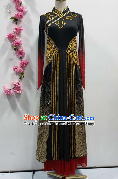 Chinese Traditional Mongolian Nationality Performance Black Dress Mongol Ethnic Folk Dance Clothing